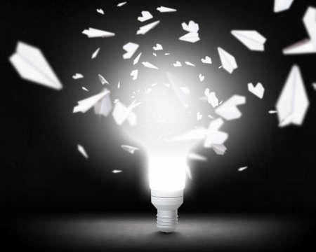 Bright idea for success . Mixed media . Mixed media Imagens - 76494705