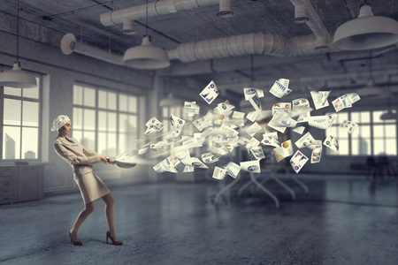 woman handle success: Receipt of success achieving . Mixed media . Mixed media Stock Photo