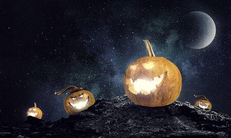 Mystery of Jack pumpkin . Mixed media Banco de Imagens