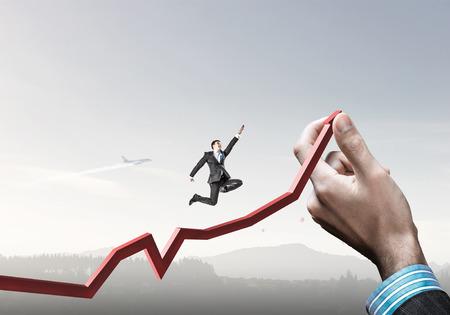 Climbing up to success . Mixed media Stock Photo