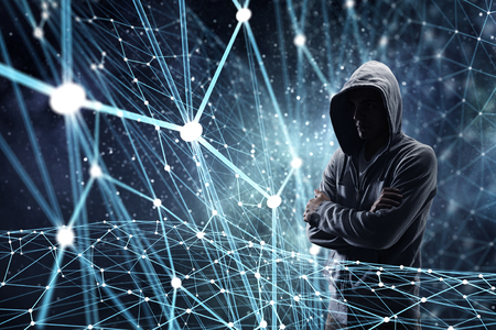 Silhouette of hacker in hoody on digital background. 3D rendering
