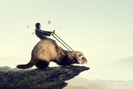 Woman ride ferret