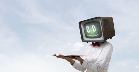 Problem of television addiction. Mixed media Imagens