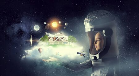 I will become astronaut and fly to space . Mixed media Imagens
