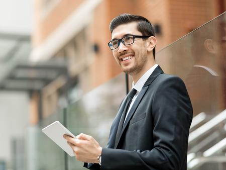 Portrait of handsome businessman outdoor Stock Photo