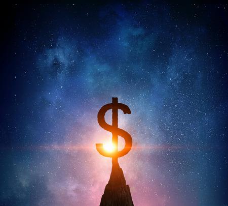 Dollar symbol silhouette on peak. Mixed media