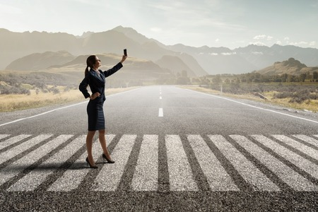 Woman doing amazing selfie Stock Photo