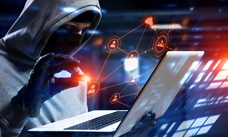 Network security and privacy crime. Mixed media Stock Photo - 77627894