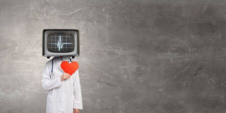 Doctor with TV instead of head Reklamní fotografie