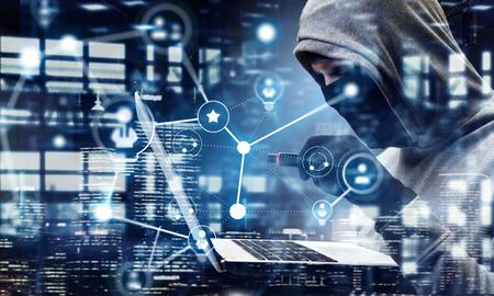 seguridad de la red y el crimen privacidad. Técnica mixta