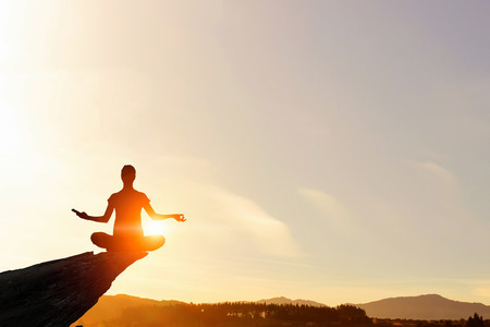 spiritual energy: Trying to concentrate on positivity Stock Photo