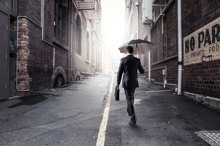 Businessman hurrying home