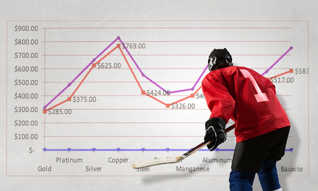 mixed media: Hockey player and dynamics graph. Mixed media Stock Photo