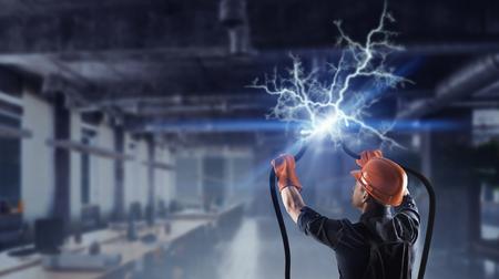 Fijación del corte de electricidad Foto de archivo - 78097203