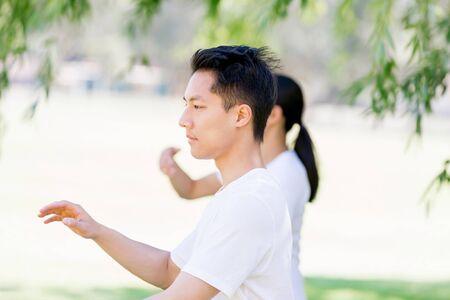 spiritual energy: People practicing thai chi in park