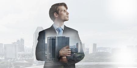 Businessman in big city Stock Photo