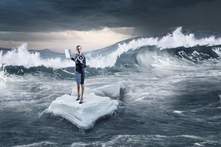 Surfing sea on ice floe