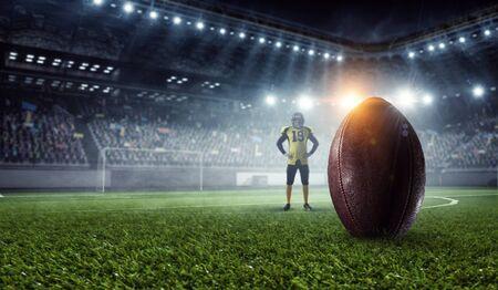 Kicker player on position. Mixed media . Mixed media