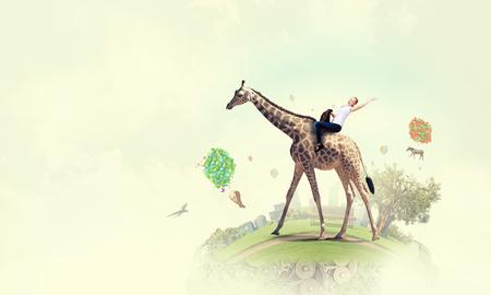 Girl saddle giraffe . Mixed media . Mixed media Imagens