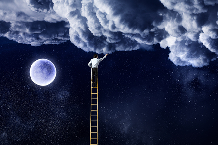 Men that get moon . Mixed media Zdjęcie Seryjne - 78478480