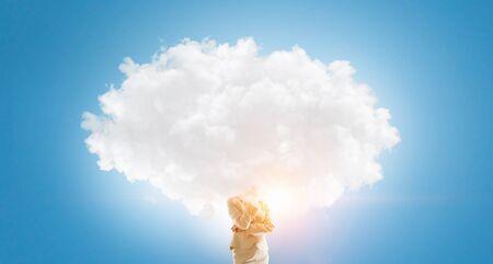 Cloud headed woman . Mixed media Stock Photo