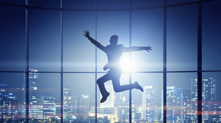 careless: Jumping businessman in office . Mixed media