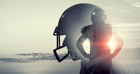 Double exposure of american football players fighting for ball Stok Fotoğraf