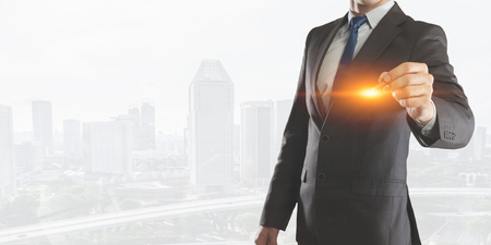 Businessman draw on screen Stock Photo