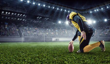 Kicker player on position. Mixed media