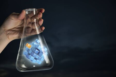Cube figure as innovation concept . Mixed media Stock Photo