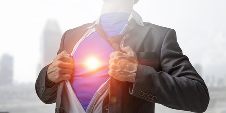 super man: His super abilities for leading business Stock Photo