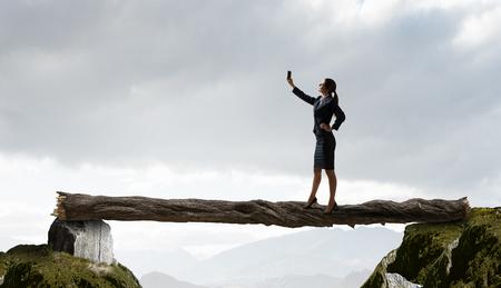 Woman doing amazing selfie Фото со стока