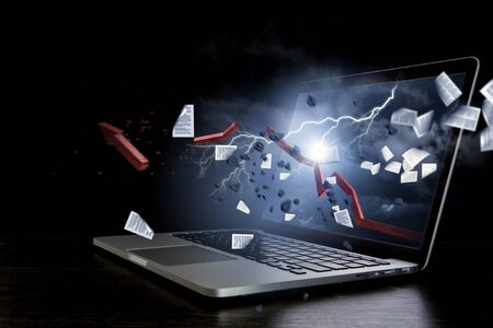 Growth red arrow breaks laptop display. Mixed media