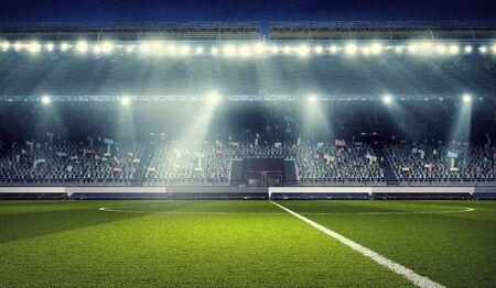 Soccer stadium in spotlights