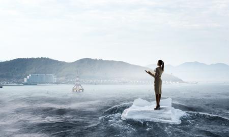 ice floe: Surfing sea on ice floe