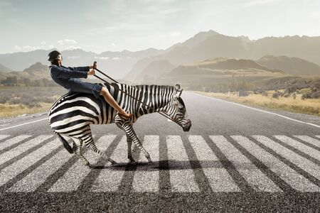 Businesswoman ride zebra. Mixed media