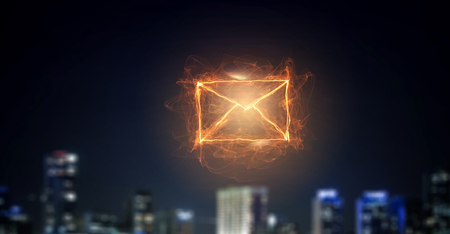 Envelope light glowing symbol on dark background