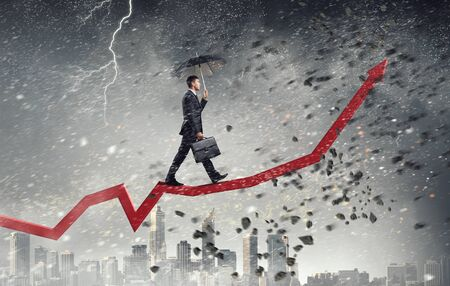 progressing: Climbing up to success Stock Photo