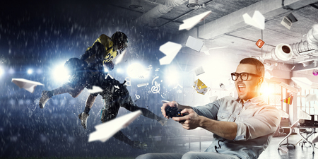 Experience the reality of game. Mixed media Stockfoto