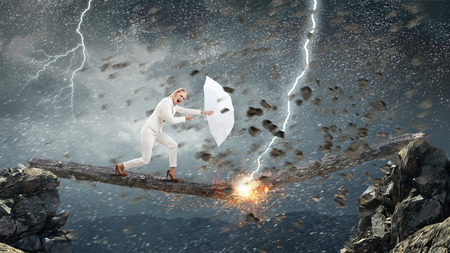 Strong enough to challenge it . Mixed media Stock Photo