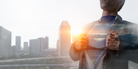 His super abilities for leading business Stock Photo