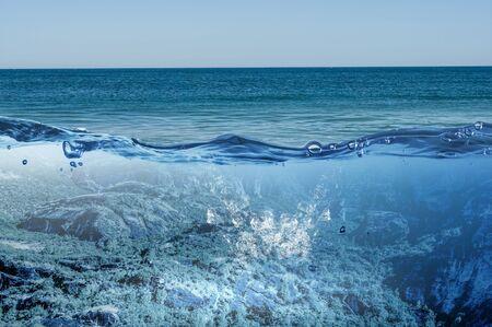 Ocean underwater view . Mixed media