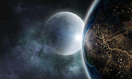 通信: Moon and Earth planet