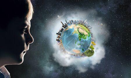 Exploring this great world . Mixed media Reklamní fotografie