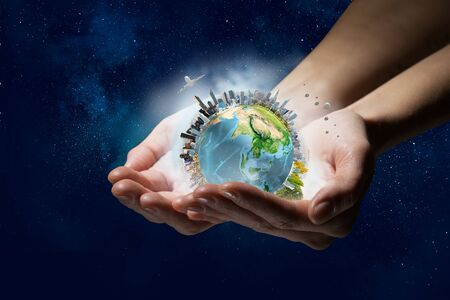 Ce monde reçoivent soin et protection Banque d'images - 81076023