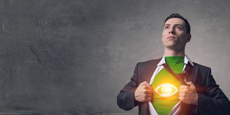 His super abilities. Mixed media 版權商用圖片
