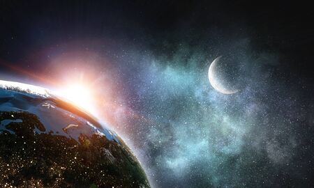 Earth and galaxy. Stock Photo