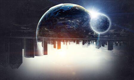 Earth and galaxy.  Mixed media