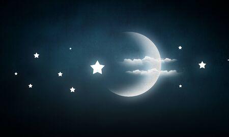 月も星と雲で空を毎晩 写真素材