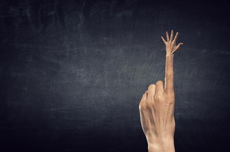 Five gesture on forefinger .